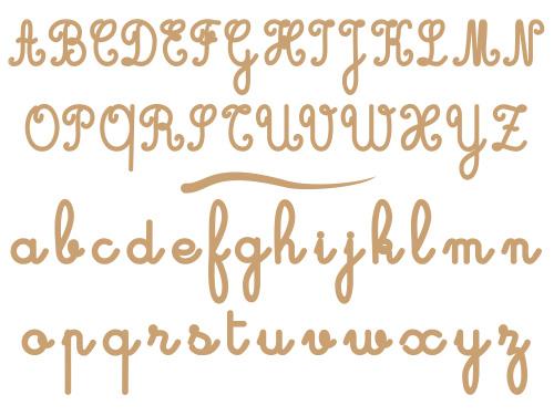 Alphabet cursives en bois