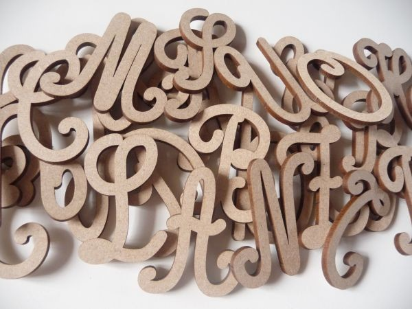alphabet cursives en bois majuscules