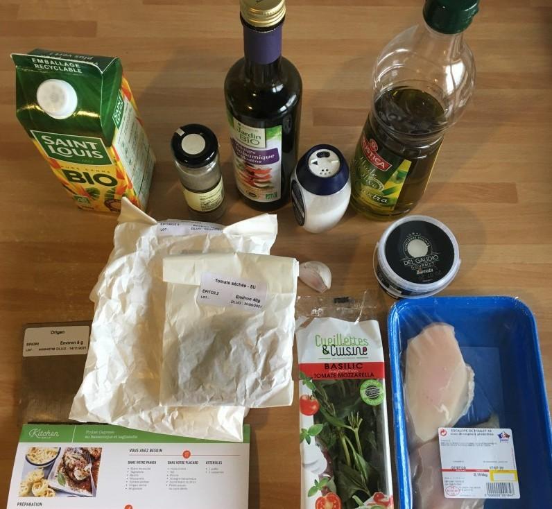 Ingrédients box repas Kitchendaily poulet caprese